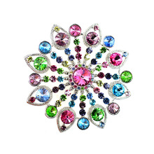 Free Shipping Loved Clothes Sweater Accessories Simple Crystal Multi-colored Flower Brooches Golden Plated Shape Brooch pins