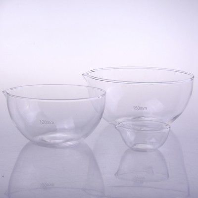 120mm Diameter Glass Evaporating Dish Plat Bottom With Spout For Chemistry Laboratory