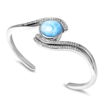 DJ CH Women Luxury Jewelry Bangle Made of AAA Blue Larimar Gemstone and 925 Sterling Silver, Nice Bracelet for her