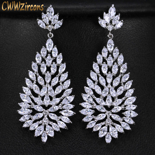 Cwwzircons High Quality Cubic Zirconia Stones Jewelry Silver Color 5cm Long Blooming Cz Earrings For