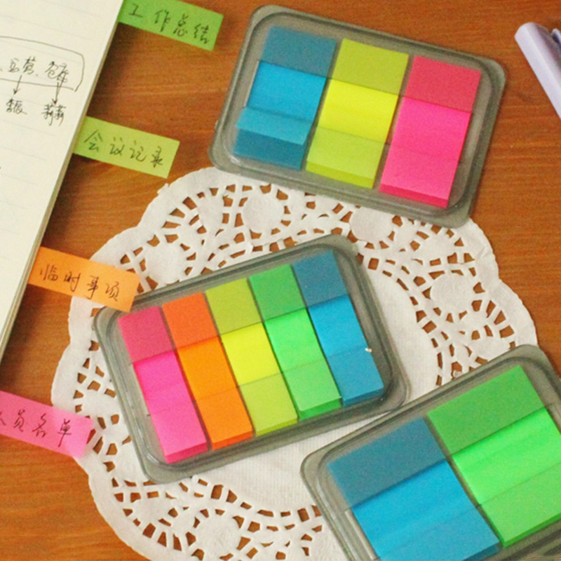 10 pcs/lot Colored Post It Notes Rainbow Sticky Notes Memo Pad Paper Stickers Kawaii Stationery Office Material School Supplies