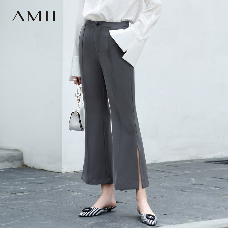 Amii Women Minimalist 2019 Flare Pants Chic Office Lady Slit Chiffon High Quality Original Design Female