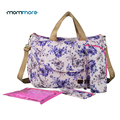 mommore Printed Fllower Diaper Bag Dot Nappy Bag With Changing Pad Mother Tote Bags Mummy Handbags Waterproof Baby Stroller Bag
