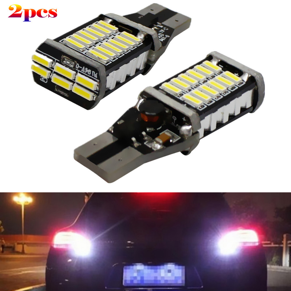 2 x T15 W16W 4014 30SMD LED Strong Bright Car Turn Singal Brake Stop Light 1200LM High Power