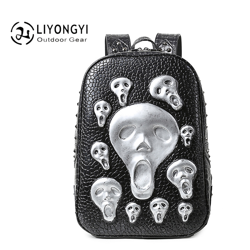 2017 New Fashion Personality 3D skull leather backpack rivets skull backpack with Hood cap apparel bag cross bags hiphop man new 2017 fashion personality 3d skull leather backpack rivets skull backpack with hood cap apparel bag cross bags hiphop man 737