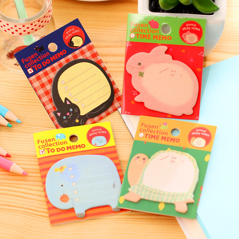 10pcs mixed color office & school stationery fresh and lovely cartoon animal N times with post message book sticky notes pads
