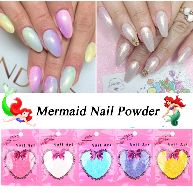 5Bags Mermaid Nail Glitter Powder 10g/bag Mirror Pretty Gradient Shimmer Glitters Pigment Nail Powder Dust Laser Nail Art Decora image