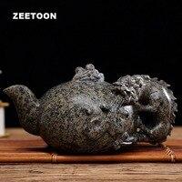 260cc Boutique Natural Medical Stone Teapot Chinese Health Care Longevity Suanni Pot Creative Carving Antique Kung Fu Tea Set