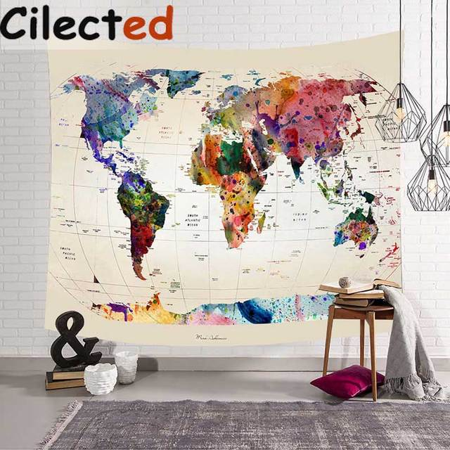 Cilected World Map Tapestry Wall Hanging 100 Polyester Middle Ages