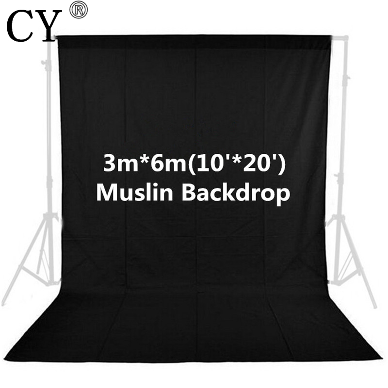 CY Photo Studio 10ft x 20ft 3m x 6m Solid Black Muslin Backdrop Photography Backgrounds Backdrops Hot Selling 300cm 200cm about 10ft 6 5ft backgrounds heart shape of water droplets photography backdrops photo lk 1529 valentine s day