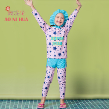 AONIHUA 2017 New 3pcs Printed Stars Long sleeve Two piece Swimsuit for Girls kids Quickly Dry swimwear Children bathing suit