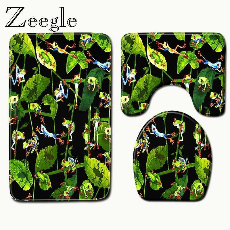 Zeegle zielony komplet dywaników łazienkowych dywaniki toaletowe antypoślizgowa mata podłogowa pokrywka toaletowa antypoślizgowe maty do kąpieli absorpcja mata podłogowa do toalety