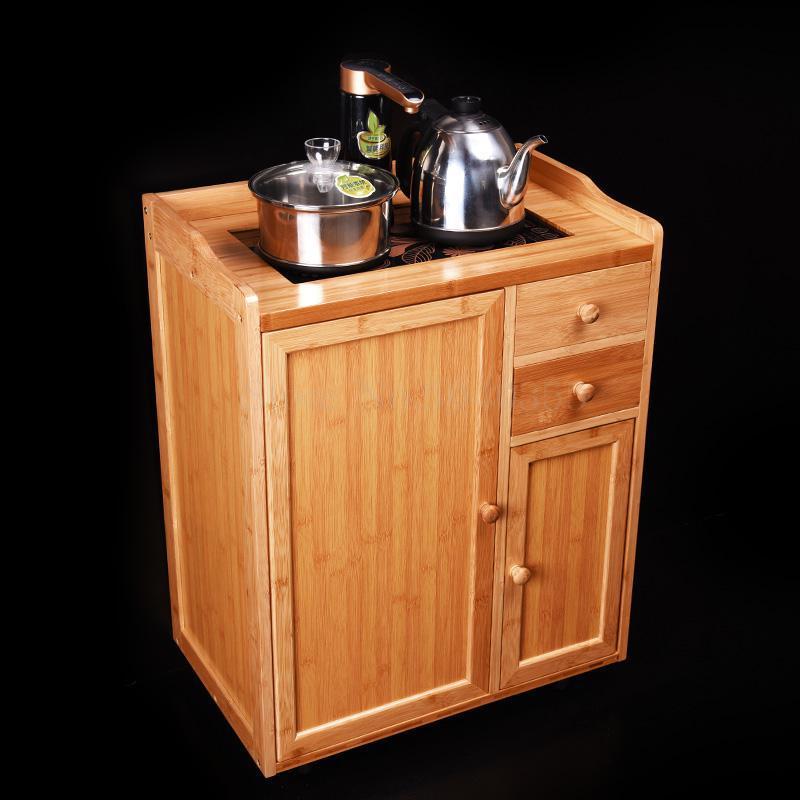 Removable tea racks multi-function small bamboo tea cabinet tea cabinet living room home automatic boiling water tea table - Цвет: VIP 1