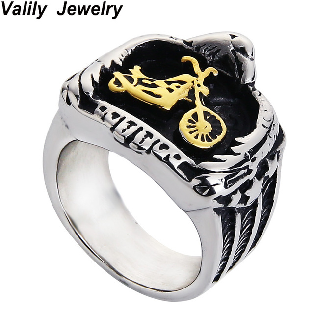 0488ebadd9bb9 US $3.64 27% OFF|Valily Jewelry Men's Motorcycle Biker Ring Stainless Steel  Eagle Embracing Gold Motorbike Chopper Punk Ring Jewelry for Men -in Rings  ...