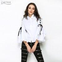 ADYCE 2018 HOT SALE Woman Brand Autumn Runway Tops Sexy White Ruffles Turn-Down Collar T shirt&Tops clubwear Women Top Wholesale