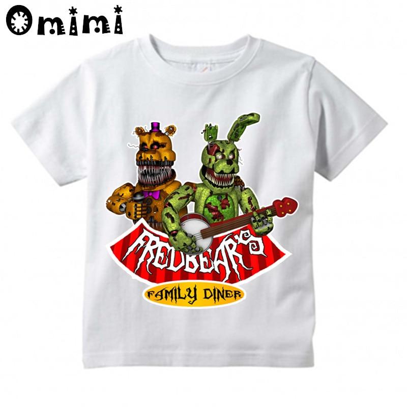 где купить Baby Boys/Girls Five Nights At Freddy Printed T Shirt Kids Short Sleeve Tops Children's Apparel Funny White T-Shirt по лучшей цене