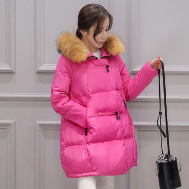 Sıcak Satış Kadın Kürk Yaka Kapüşonlu Mont Parkas Dış Giyim Artı Boyutu Gevşek Kış Aşağı Ceket Femininas C450