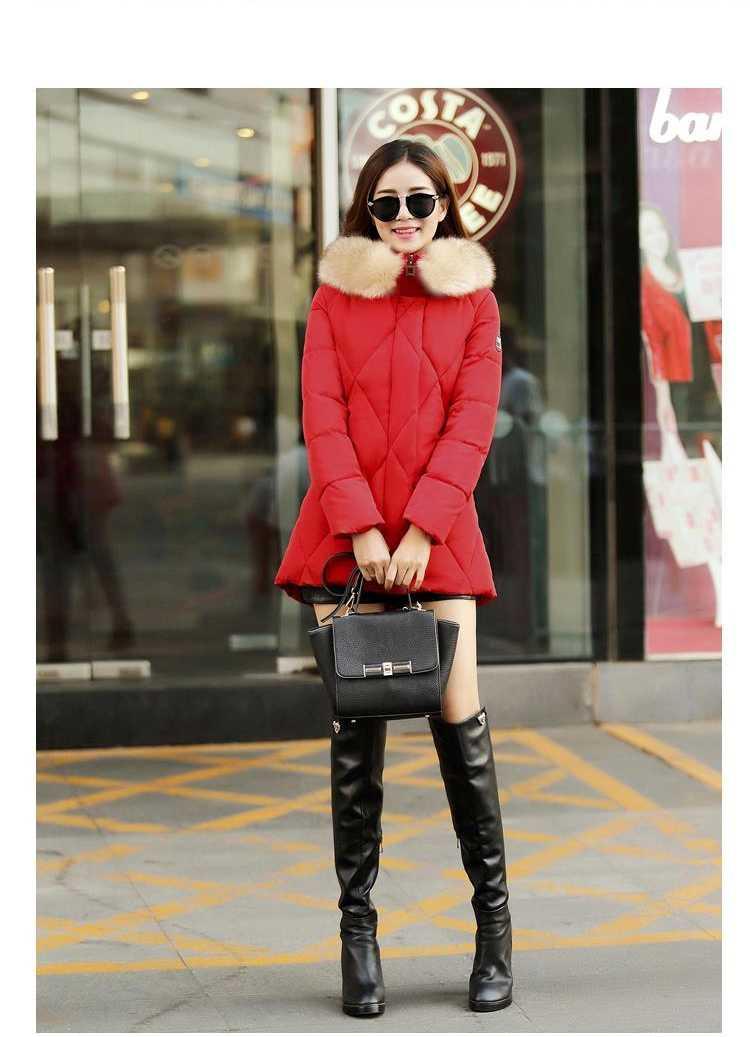 цены на New Arrival Fashion Korean Fur Hooded Collar Zipper Hidden Button Mid Long Cotton Padded Jackets Long Sleeves Women Coat H5236 в интернет-магазинах