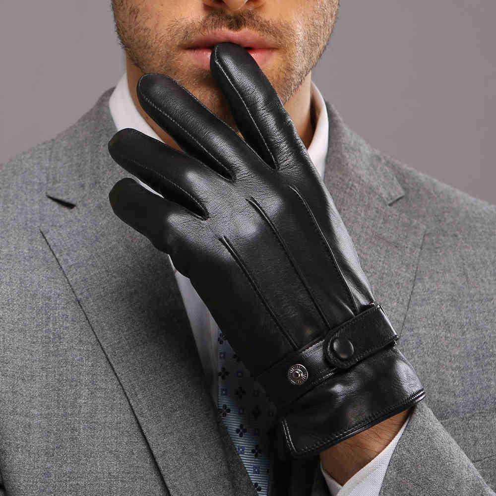 Mens leather gloves sale - Fashion Brand Design Men Leather Gloves Thickening Thermal Plus Velvet Genuine Goatskin Glove Male Wrist Winter