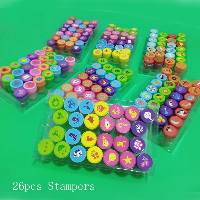 26pcs Kids Cartoon Stamp Children Custom Plastic Rubber Self Inking Stampers Toys Learning Educational Toys Christmas Gifts