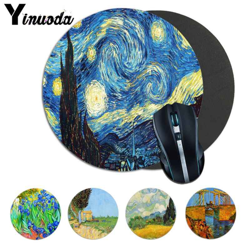 Yinuoda High Quality Vincent van Gogh Natural Rubber Gaming mousepad Desk Mat nimation small Mouse pad gamer Round Mice Pad