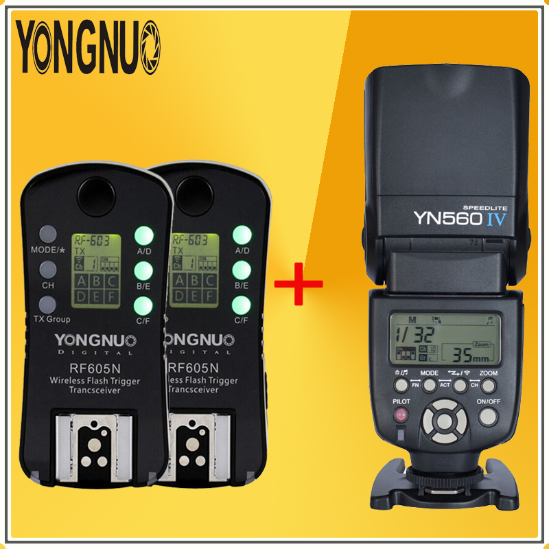YONGNUO YN-560 IV Wireless TTL HSS 1/8000s YN560 IV Flash Speedlite +2*RF-605N RF605 LCD Wireless Trigger For NIKON DSLR Cameras  yongnuo yn 560 iv yn560 wireless ttl hss master radio flash speedlite 2pcs rf 605c rf605 lcd wireless trigger for canon camera