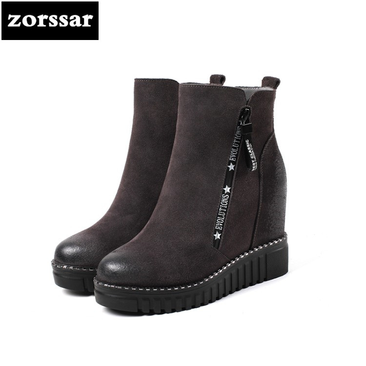 {Zorssar} Female snow boots high heels Wedges Shoes Suede Leather Height Increasing platform Ankle Boots botas mujer invierno zorssar 2017 new winter female shoes suede platform height increasing ankle snow boots fashion buckle high heels women boots