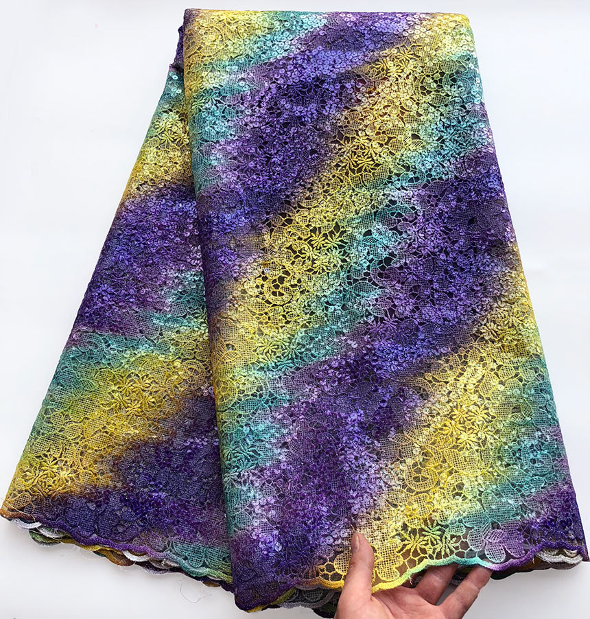 Upscale Multicolored french lace African tulle lace Nigerian sewing fabric with allover Sequins 5 yards per