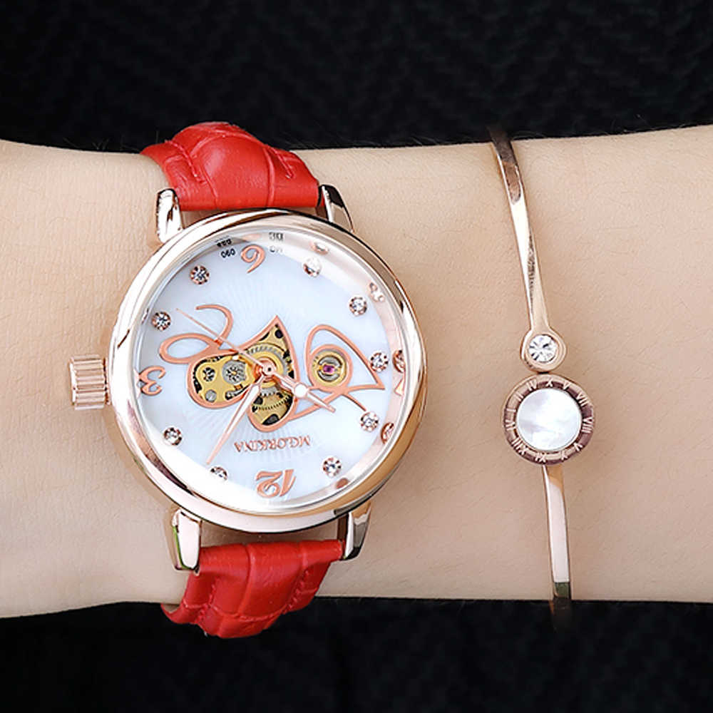 New Love Automatic mechanical watches Women Rose Gold watch Lady relojes mujer women wristwatches Girl Dress Clock Montre Femme