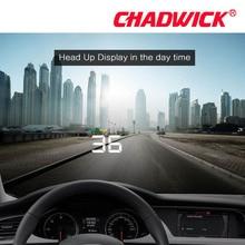 Moda simples hud display carro alarme de excesso de velocidade alarme de temperatura da água obdii nterface filme reflexivo carro estilo chadwick a500