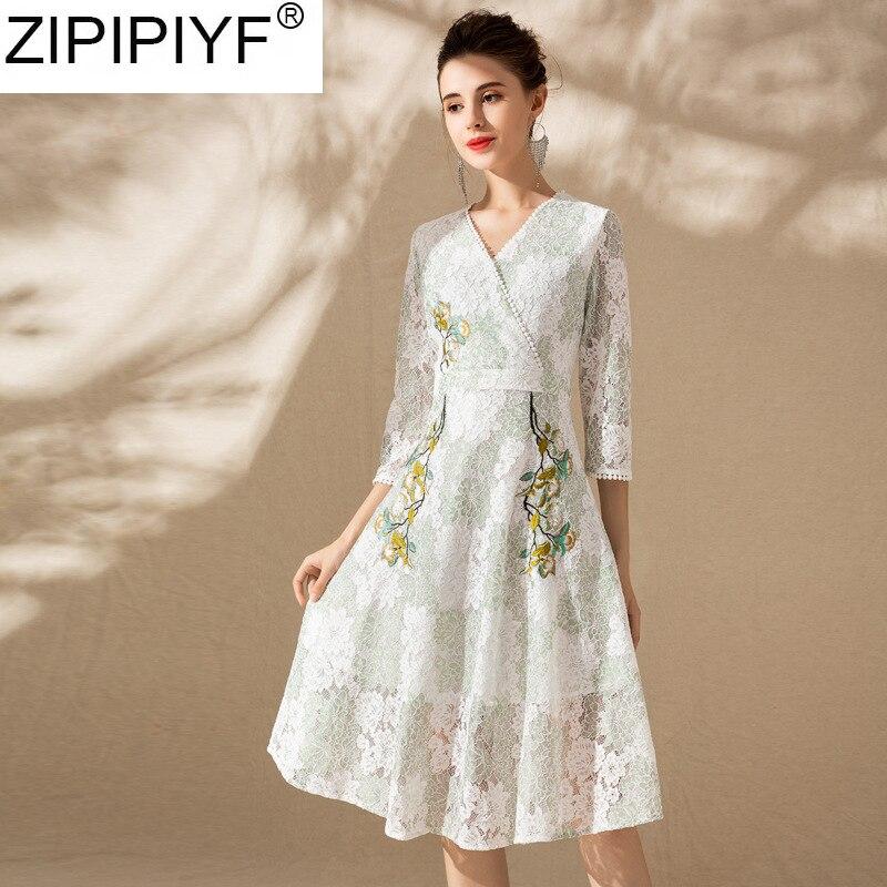 70e989eab5c longueur V Parti Femmes Robes Beige Empire 3 Mode Genou De Q389 Col  Streetwear Printemps Manches 2019 Robe 4 blanc Broderie Casual B1zawq