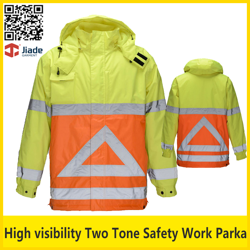 ФОТО Jiade High quality two tone contrast yellow orange waterproof safety reflective parka jacket workwear safety clothing
