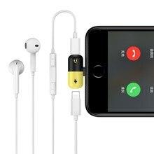 2 em 1 Adaptador USB Cabo de Carregamento Para O iphone X 7 8 Plus ios Originais Fone De Ouvido Música Carregador Conversor De Áudio conector divisor