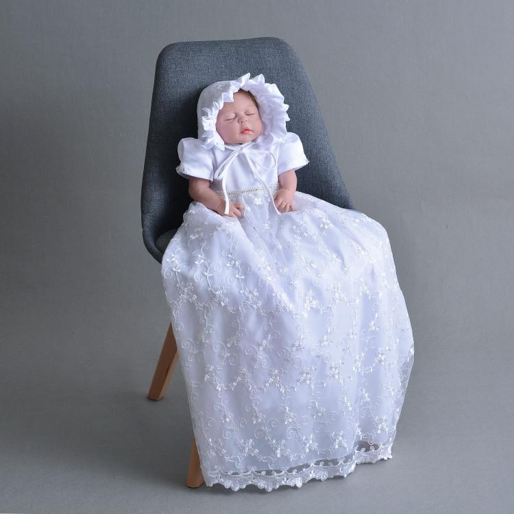 2019 haut de gamme petite fille robe arc Extra Long princesse bébé fille Brithday formel baptême Clohtes pour 1 an RBF184004
