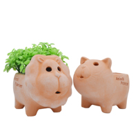 Cartoon Animal Planter Potted Plants Cute Indoor Small Flower Pot Ceramic Red Brick Planters for Succulents Farmhouse Decor