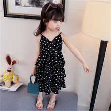 New Girls Summer Dress 2019 Black White Polka Dot Chiffon Cake Baby Girl Kids Sexy Beach Causal Adjustable Sling Dresses