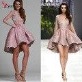 2016 сексуальная новые вечерние платья ну вечеринку платья розового кружева аппликация длинные рукава зима весна привет-ло короткие платья выпускного вечера