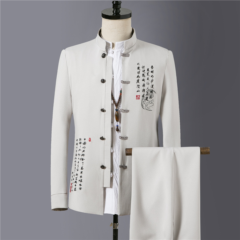 Summer New Embroidered Suit Men Sets Slim Design Male Blazer Jackets And Pants Classic Chinese Retro Style Stand Collar Man Suit
