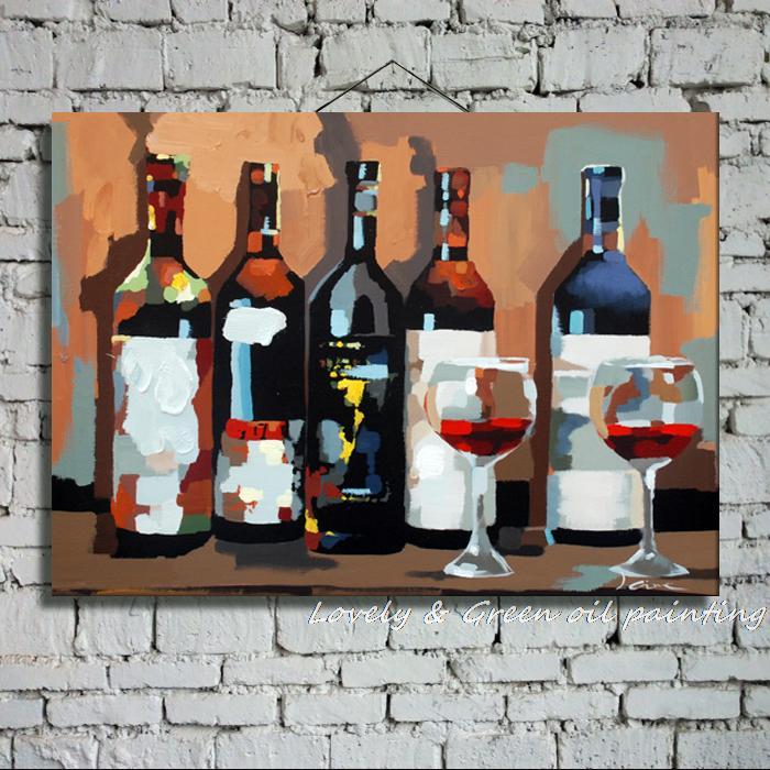 Чистая ручная живопись, бокал вина, картина маслом, холст, современная, короткая, абстрактная, Безрамная, модная, для столовой, декоративные картины, 60X90