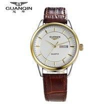 GUANQIN Reloj de la Marca Original de Cuero de Cuarzo Reloj de Los Hombres de Moda Masculina Impermeable Relojes Del Reloj Para Hombre Relojes de Pulsera Relogio masculino