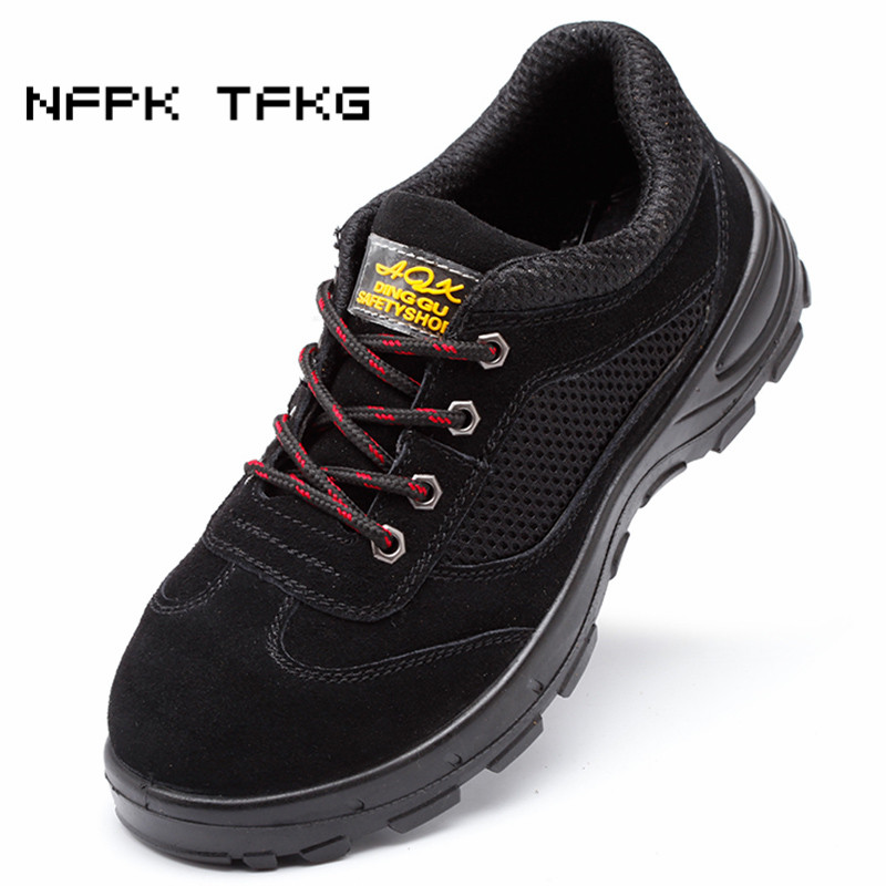 new fashion men large size breathable steel toe caps work safety shoes suede leather non-slip platform tooling low boots zapatos great spaces home extensions лучшие пристройки к дому