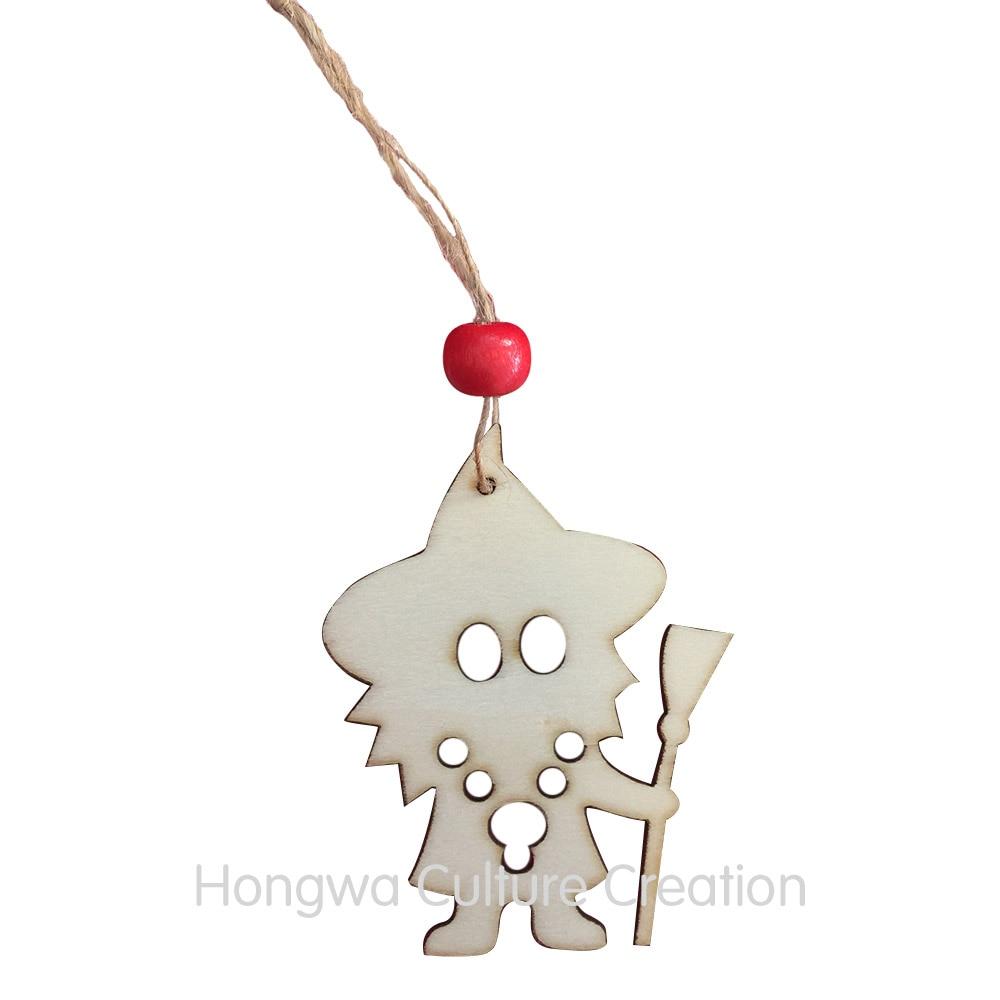 8CM Wedding Ornament Wooden Pendants Christmas Tree Hanging Reindeer ...