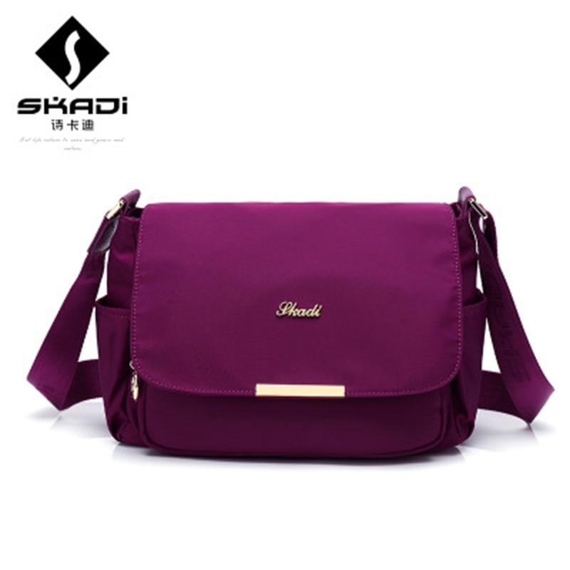 SKADI Brand teenager casual solid fashion women shoulder crossbody Bag Nylon oxford Mochila Multifunction Flip Messenger Bag skadi s 152