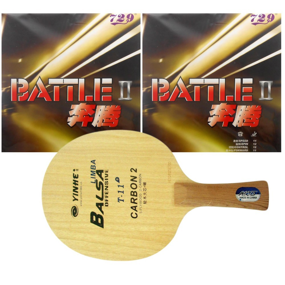 Pro Table Tennis/ PingPong Combo Racket: Galaxy YINHE T-11+ with 2x RITC729 Battle II (Tacky) Long Shakehand FL galaxy milky way yinhe v 15 venus 15 off table tennis blade for pingpong racket