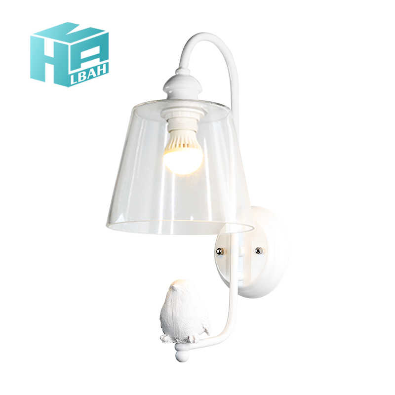 LBAH lovely e27 led contemporary and contracted Wall Lamp Clear Glass  Bedroom Stair Loft Light Resin Bird  Lighting E27