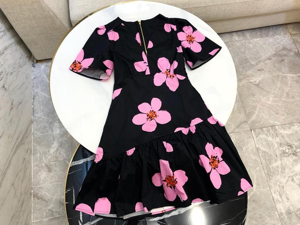 2019 new ladies fashion print V neck ruffled hem short sleeved dress 0515