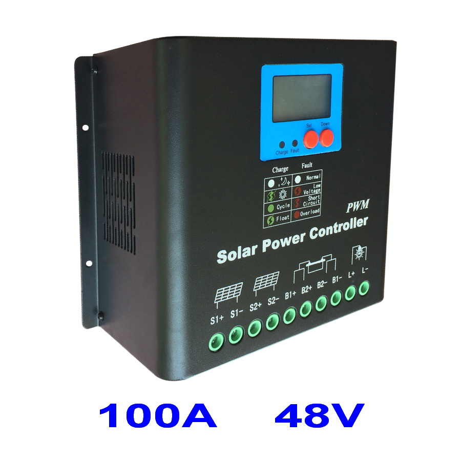 Dual-fan cooling 100A <font><b>Solar</b></font> Charge Controller 48V PV <font><b>Panel</b></font> Battery Charge Regulator for <font><b>5000W</b></font> Off Grid <font><b>Solar</b></font> Power System image