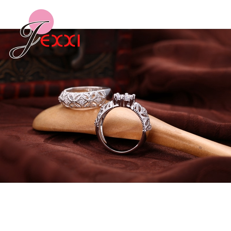 Online Shop JEXXI CZ Engagement Wedding Ring Set 925 Sterling