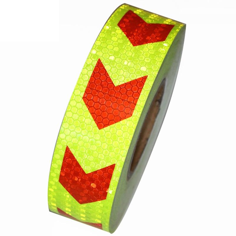 5 см * 45 м светоотражающие полоски безопасности Предупреждение знак ленты тела наклейки Красный Желтый стрелка решетки клей носить- несколь...