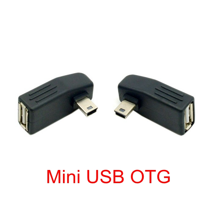Mini USB 5-Pin B Male Left Angled 90°to USB 2.0 Type A Female OTG Host Adapter
